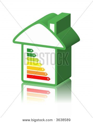 house with energy classification ecology concept white background poster