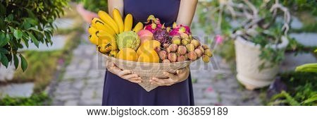 Variety Of Fruits In A Vietnamese Hat. Woman In A Vietnamese Hat Banner, Long Format