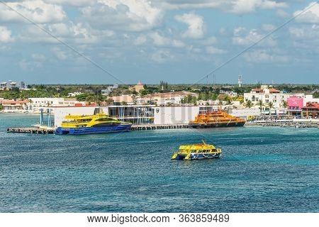 San Miguel De Cozumel, Mexico - April 25, 2019: View Of The Playa Del Carmen - Cozumel Ferry Dock.