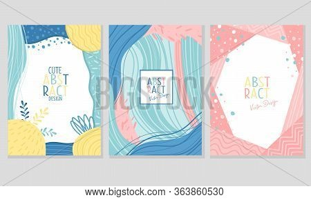 Abstract Cover Or Card Design With Fancy Wavy Shapes And Dots Vector Set