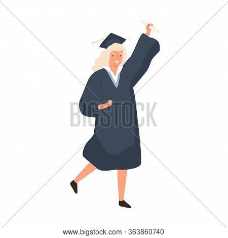 Smiling Girl Celebrating Graduation Isolated On White Background. Young Woman Dressed In Robe And Ca