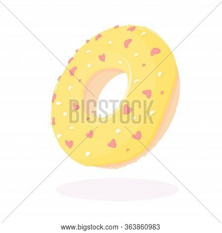 Donut With Yellow Icing And Hearts Isolated On A White Background