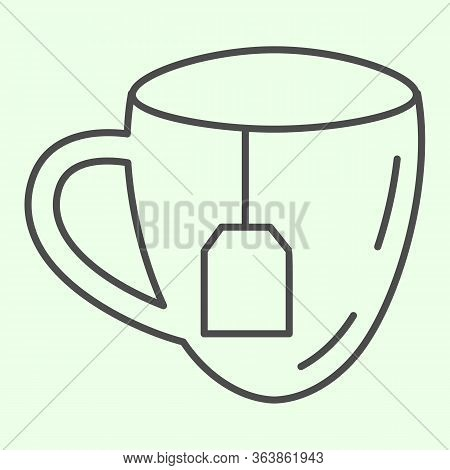 Lunch Break Thin Line Icon. Cup Of Tea With Tea Bag Outline Style Pictogram On White Background. Bus