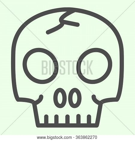 Skull Organ Line Icon. Anatomical Human Head For Biology Study Outline Style Pictogram On White Back