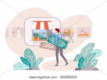 Small Business Owner. Retail Store Concept Of Start Up Owen Business. Small Business Owner Open Shop
