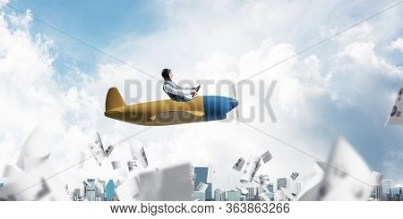 Successful Management And Information Analysing Concept With Funny Pilot. Aviator Driving Propeller