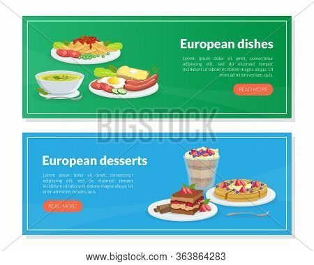 European Dishes And Desserts Landing Page Templates Set, Traditional European Cuisine Homepage, Webs