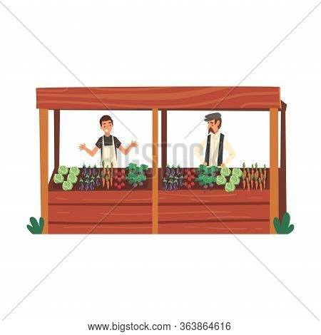 Male Farmers Selling Fresh Organic Vegetables On Wooden Stall At Farm Market Vector Illustration