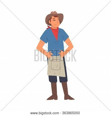 Cheerful Male Farmer Character In Hat, Apron And Rubber Boots Vector Illustration