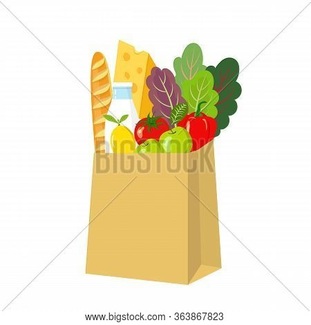 Vector Illustration Of Brown Paper Groceries Bag With Fresh Organic Produce Vegetables Bell Pepper T