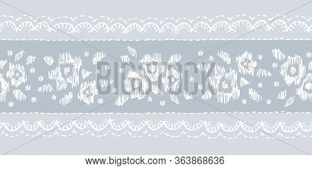 Crewel Embroidery Floral Lace Needlework Vector Seamless Pattern Horizontal Border . Hand Drawn Trad