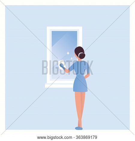 House Cleaning. A Girl Washes The Mirror In The Bathroom. Vector. Woman Clean The Mirror. Domestic W