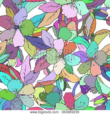 Oriental Seamless Pattern Of Multicolor Flowers For Fabric. Vector Endless Texture Hand Drawn. Afric