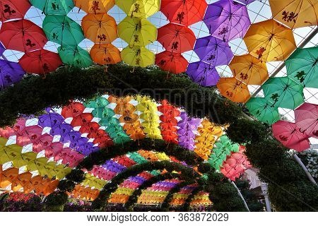 A Canopy In The Form Of An Arch From Multi-colored Umbrellas And Flower Garlands. Rainbow Of Bright