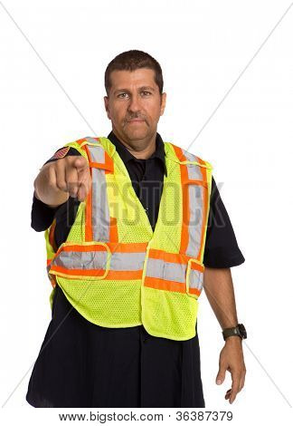 Security Officer Wearing Safety Vest Hand Gesture Directing Traffic on Isolated Background