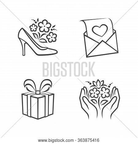 Set Of Congratulation Outline Icons. Main Topics Mother S Day, Congratulations. White Background. Pe