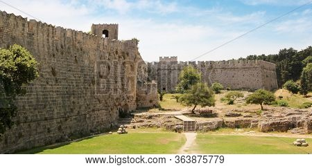 Bastion And Fortress Wall, Medieval Fortress, The Old Town Of Rhodes, Greece