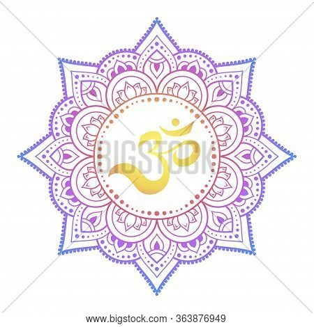 Color Circular Pattern In Form Of Mandala With Ancient Hindu Mantra Om And Lotus Flower For Henna, M