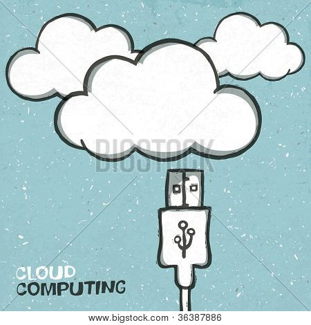 Cloud computing concept illustration, usb cabel and clouds icons. Raster version, vector file available in portfolio.