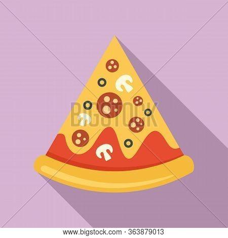 Mozzarella Pizza Slice Icon. Flat Illustration Of Mozzarella Pizza Slice Vector Icon For Web Design