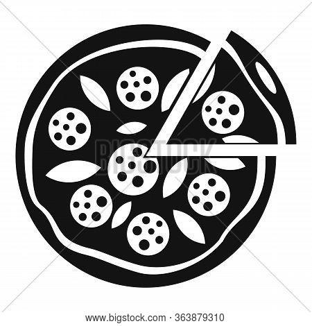 Tomato Mozzarella Pizza Icon. Simple Illustration Of Tomato Mozzarella Pizza Vector Icon For Web Des