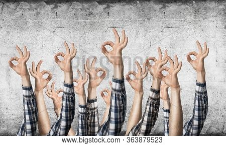 Row Of Man Hands Showing Okay Gesture. Agreement And Approval Group Of Signs. Human Hands Gesturing