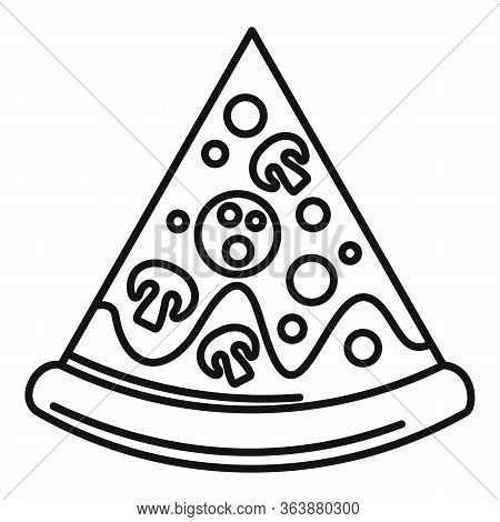 Baked Pizza Slice Icon. Outline Baked Pizza Slice Vector Icon For Web Design Isolated On White Backg