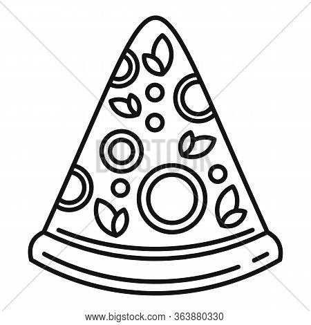 Pepperoni Pizza Slice Icon. Outline Pepperoni Pizza Slice Vector Icon For Web Design Isolated On Whi
