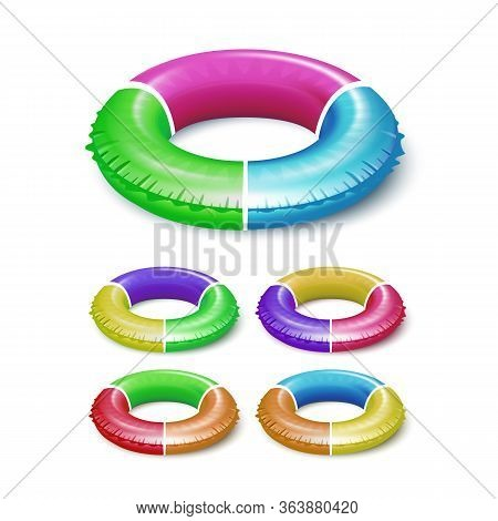 Lifebuoy Children Life Saver Equipment Set Vector. Collection Of Life Safety Tool For Safety Swimmin