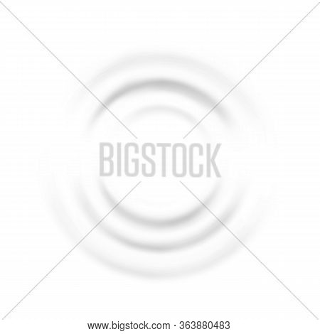 Ripple Waves Of Music Dynamic Flat Lay Vector. White Sound Impact Ripple Effect In Circular Shape. W