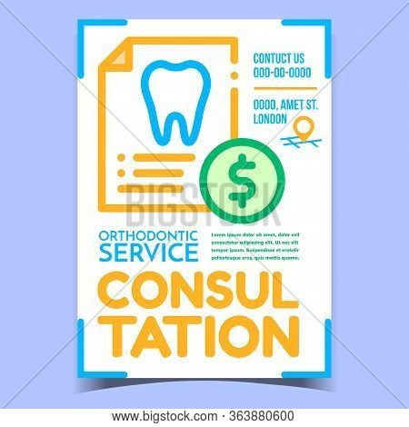 Orthodontic Consultation And Service Banner Vector. Tooth On Paper List Report And Dollar Coin, Orth