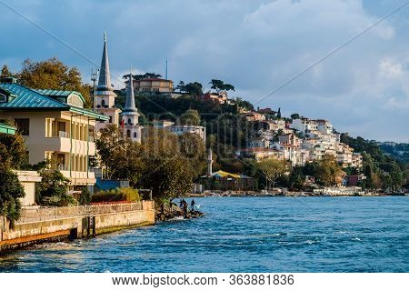 Traditional And Modern Mansions On The Bosporus Strait Waterside, Turkey Istanbul Boat Trip Along Th