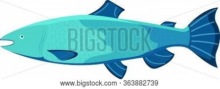 Fresh Fish, Cartoon Style Isolated On White, Flat Vector Illustration Salmon. Concept Minnow Seafood