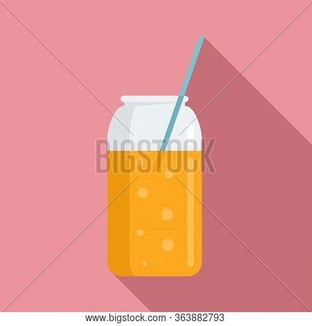 Orange Juice Smoothie Icon. Flat Illustration Of Orange Juice Smoothie Vector Icon For Web Design