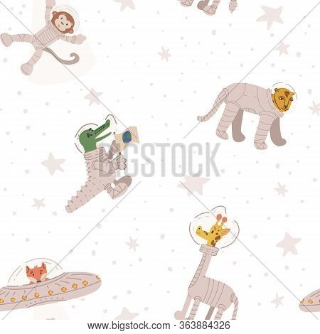 Cute animal astronauts vector seamless pattern. Cheetah, giraffe, alien fox in UFO kidnapping monkey spaceman, crocodile with Earth flag. Flat hand drawn illustration on isolated background.