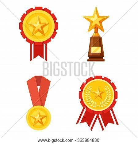 Vector Illustration Of Medals And Trophies. Suitable For The Design Elements Of A Championship, Awar