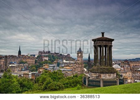 view on Edinburgh skyline with Edinburgh Castle and  Scotts Monument from Calton Hill, Scotland