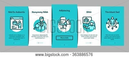 Recruitment And Research Employee Onboarding Mobile App Page Screen Vector. Curriculum Vitae Cv And