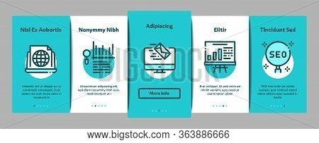 Inbound Marketing Onboarding Mobile App Page Screen Vector. Growth Roi And Seo, Attract And Crm, Ema