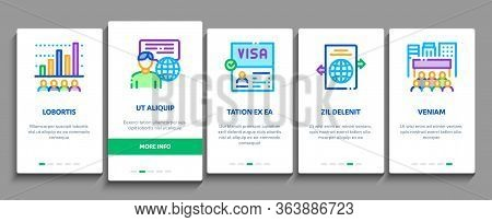 Immigration Refugee Onboarding Mobile App Page Screen Vector. Immigration Person With Baggage, Passp
