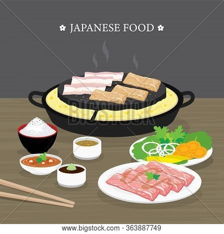 Set Of Traditional Japanese Food, Yakiniku Version Of Korean Bbq. Raw Beef And Pork Slice Cooking Ba