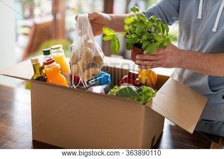 Man checking his fresh food delivery