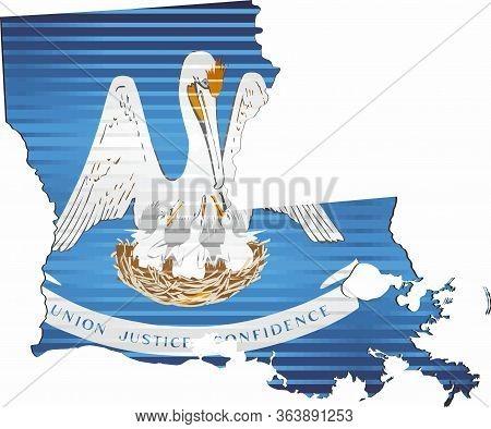 Shiny Grunge Map Of The Louisiana - Illustration,  Three Dimensional Map Of Louisiana
