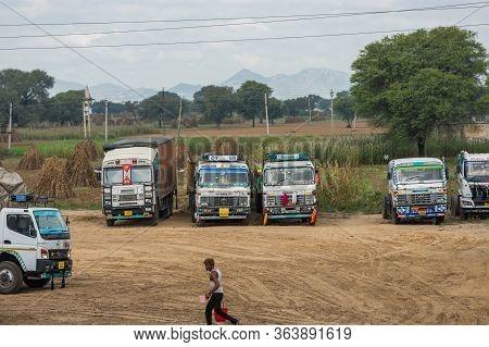 Colorfully Decorated Indian Trucks On A Delhi–jaipur Expressway Nh48 Near Jaipur, India