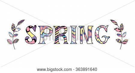 Cute Hand Written Quote Spring In Rainbow Colors With Two Decorative Brunches. Vector Illustration