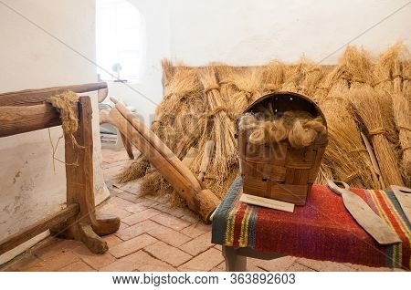 Veliky Novgorod,russia -august 16, 2019. The Exhibits Of An Ethnographic Exhibition In The Interior