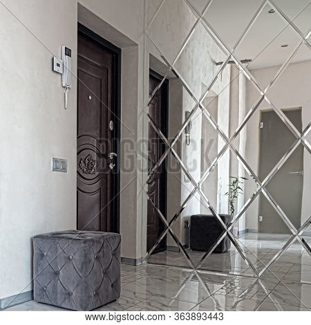 Interior Front Foyer View. Bright Interior Of A Beautiful Modern Hall In The Style Of Minimalism Wit