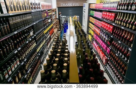 Fully Stocked Shelves Of Alcohol At Local Pick N Pay Liquor Store