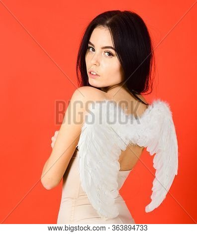 Sexy Angel Concept. Woman On Pensive Face Play Role Game. Girl In Bodysuits Looks Slim, Tender, Pure