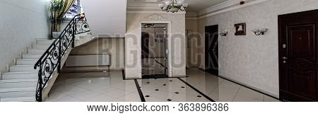 Spacious Entrance Hall With Light Walls And Marble Floor. Front Entrance Foyer Entrance Hall Of A La